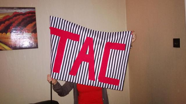 My talented mum, hanging behind her TAC flag